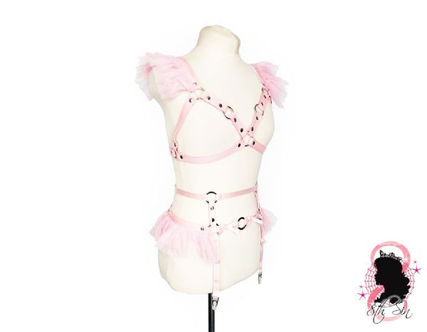 Pink Faux Leather Caged Mesh Harness Set